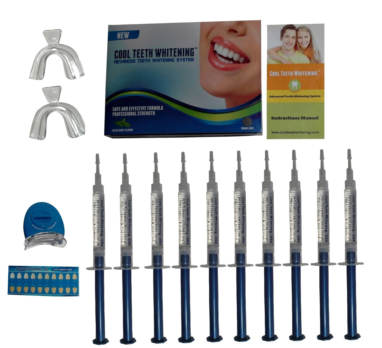 Cool Teeth Whitening Kit 10 Syringes Of 44 Carbamide Peroxide